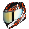 SA-1 BOOSTER MAT BLACK WITH ORANGE - CHROME GOLD VISOR (WITH EXTRA CLEAR VISOR)