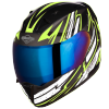 SA-1 BOOSTER MAT BLACK WITH NEON - CHROME BLUE VISOR (WITH EXTRA CLEAR VISOR)
