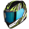SA-1 BOOSTER MAT BLACK WITH NEON - NIGHT VISION BLUE VISOR (WITH EXTRA CLEAR VISOR)