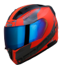 SA-1 RTW GLOSSY FLUO RED WITH WHITE CHROME BLUE VISOR (WITH EXTRA CLEAR VISOR)