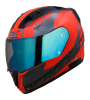 SA-1 RTW GLOSSY FLUO RED WITH WHITE NIGHT VISION BLUE VISOR (WITH EXTRA CLEAR VISOR)