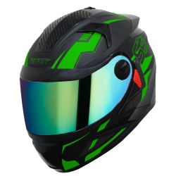 SBH-17 ROBOT TERMINATOR MAT BLACK WITH FLUO GREEN (FITTED WITH CLEAR VISOR EXTRA CHROME RAINBOW VISOR FREE)