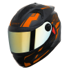 SBH-17 ROBOT TERMINATOR MAT BLACK WITH FLUO DARK ORANGE CHROME GOLD VISOR