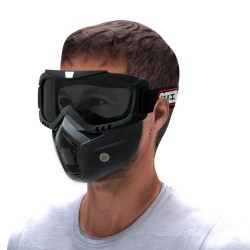 STEELBIRD 3 IN 1 FACE MASK WITH SMOKE GOGGLE