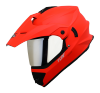 SB-42 Turf Single Visor Glossy Fluo Red With Silver Chrome Visor (With Extra Clear Visor)