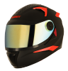 SBH-17 ROBOT FLUORESCENT EDITION MAT BLACK WITH FLUO RED (FITTED WITH CLEAR VISOR EXTRA GOLD CHROME VISOR)