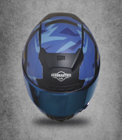 SA-2 ESCAPE MAT BLACK WITH BLUE  BLUE CHROME VISOR (FITTED WITH CLEAR WITH EXTRA CHROME VISOR FREE)