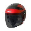 SB-29 AER MAT CHERRY RED WITH BLACK (FITTED WITH CLEAR VISOR WITH EXTRA SMOKE VISOR FREE)