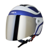 SB-29 AER MAT Y.BLUE WITH OFF WHITE (FITTED WITH CLEAR VISOR WITH EXTRA CHROME SILVER VISOR FREE)