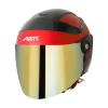 SB-29 AER MAT CHERRY RED WITH BLACK (FITTED WITH CLEAR VISOR WITH EXTRA CHROME GOLD VISOR FREE)