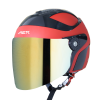 SB-29 AER MAT RED WITH BLACK (FITTED WITH CLEAR VISOR WITH EXTRA CHROME GOLD VISOR FREE)