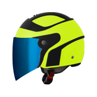SB-29 AER GLOSSY FLUO NEON WITH BLACK ( FITTED WITH CLEAR VISOR WITH EXTRA BLUE CHROME VISOR FREE)
