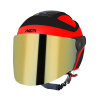 SB-29 AER GLOSSY FLUO RED WITH BLACK ( FITTED WITH CLEAR VISOR WITH EXTRA GOLD CHROME VISOR FREE)