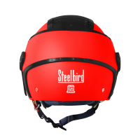 SB-29 AER GLOSSY FLUO RED WITH BLACK ( FITTED WITH CLEAR VISOR WITH EXTRA SMOKE VISOR FREE)