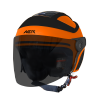 SB-29 AER GLOSSY FLUO ORANGE  WITH BLACK ( FITTED WITH CLEAR VISOR WITH EXTRA SMOKE VISOR FREE)