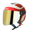 SB-29 AER MAT CHERRY RED WITH OFF WHITE  (FITTED WITH CLEAR VISOR WITH EXTRA CHROME BLUE VISOR FREE)