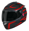 SBH-17 OPT REFLECTIVE MAT BLACK WITH RED (FITTED WITH CLEAR VISOR EXTRA SMOKE VISOR FREE)