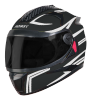 SBH-17 ROBOT REFLECTIVE MAT BLACK WITH SILVER (FITTED WITH CLEAR VISOR EXTRA SMOKE VISOR FREE)