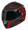 SBH-17 ROBOT REFLECTIVE MAT BLACK WITH RED (FITTED WITH CLEAR VISOR EXTRA SMOKE VISOR FREE)