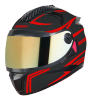 SBH-17 ROBOT REFLECTIVE MAT BLACK WITH RED (FITTED WITH CLEAR VISOR EXTRA GOLD CHROME  VISOR FREE)