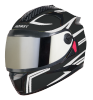 SBH-17 ROBOT REFLECTIVE MAT BLACK WITH SILVER (FITTED WITH CLEAR VISOR EXTRA SILVER CHROME  VISOR FREE)