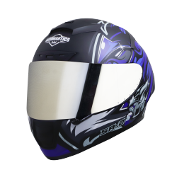 SA-2 VILLAIN MAT BLACK WITH BLUE (FITTED WITH CLEAR VISOR EXTRA CHROME SILVER VISOR FREE)