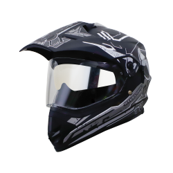 SB-42 BANG LAP MAT BLACK WITH GREY (WITH CHROME SILVER INNER SUN SHIELD)