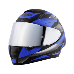 SA-2 METALLIC GLOSSY BLACK WITH BLUE ( FITTED WITH CLEAR VISOR  EXTRA CHROME SILVER VISOR FREE) WITH ANTI-FOG SHIELD HOLDER