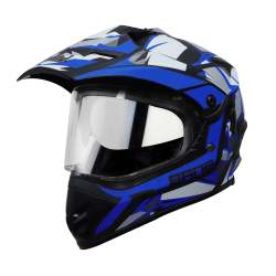SB-42 BANG KTN MAT BLACK WITH BLUE (WITH CHROME SILVER INNER SUN SHIELD)