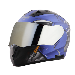 SA-1 V6 MAT Y.BLUE WITH BLACK (FITTED WITH CLEAR VISOR EXTRA CHROME SILVER VISOR FREE)