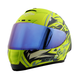 SA-2 VILLAIN GLOSSY FLUO NEON WITH GREY (FITTED WITH CLEAR VISOR EXTRA BLUE CHROME VISOR FREE)