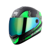SBA-1 SANCHARI MAT BLACK WITH GREEN (FITTED WITH CLEAR VISOR EXTRA CHROME RAINBOW VISOR FREE)