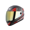 SBA-1 SANCHARI MAT BLACK WITH RED (FITTED WITH CLEAR VISOR EXTRA CHROME GOLD VISOR FREE)