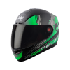 SBA-1 THALAIVA MAT BLACK WITH GREEN (FITTED WITH CLEAR VISOR EXTRA SMOKE VISOR FREE)