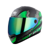 SBA-1 THALAIVA MAT BLACK WITH GREEN (FITTED WITH CLEAR VISOR EXTRA CHROME RAINBOW VISOR FREE)