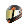 SBA-1 THALAIVA MAT BLACK WITH ORANGE (FITTED WITH CLEAR VISOR EXTRA CHROME GOLD VISOR FREE)