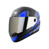 SBA-1 THALAIVA MAT BLACK WITH BLUE (FITTED WITH CLEAR VISOR EXTRA CHROME SILVER VISOR FREE)