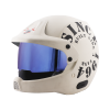SB-51 RALLY TANK MAT OFF-WHITE WITH BLACK (FITTED WITH CLEAR VISOR EXTRA BLUE CHROME VISOR FREE)