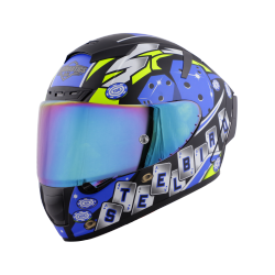 SA-2 CASINO MAT BLACK WITH BLUE ( FITTED WITH CLEAR VISOR EXTRA RAINBOW CHROME VISOR FREE WITH ANTI-FOG SHIELD HOLDER)