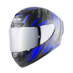SA-2 MAT BLACK WITH BLUE (FITTED WITH CLEAR VISOR EXTRA SILVER CHROME VISOR FREE WITH ANTI-FOG SHIELD HOLDER)