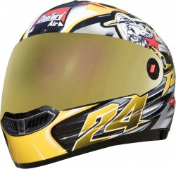 Steelbird Air Hovering Glossy Black with Yellow ( Fitted With Clear Visor  Extra Gold Chrome Visor Free)